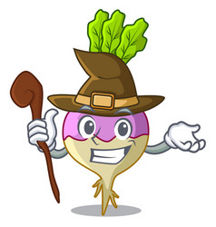 Witch rutabaga cartoon sale in the market vector