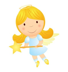cartoon angel girl with magic wand vector image vector image