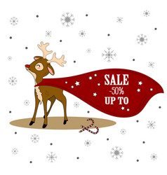 christmas sale xmas deer with banner vector image