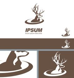 Deer Stag Head sign swoosh label branding template vector image
