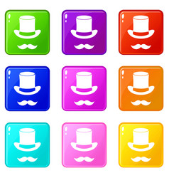 magic black hat and mustache set 9 vector image