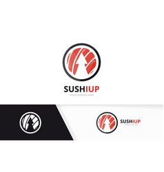 sushi and arrow up logo combination vector image