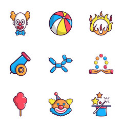 clown show icons set flat style vector image