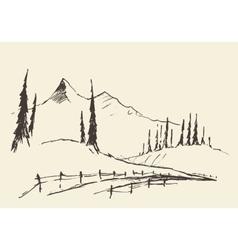 Drawn landscape hills rural road sketch vector image