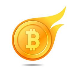 flaming bitcoin symbol icon sign emblem vector image vector image