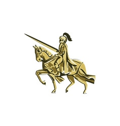 Knight Riding Steed Lance Isolated Retro vector image vector image