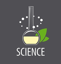 logo test tube with liquid and leaves vector image