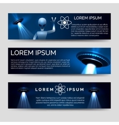 Space banners with alien and spaceship vector image