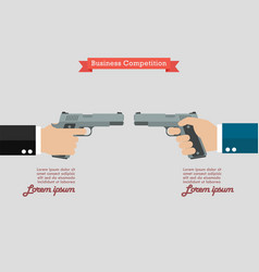 Two hands holding handguns infographic vector