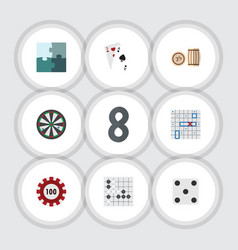 flat icon entertainment set of jigsaw ace sea vector image vector image
