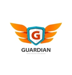 Guardian protection logo wings with shield and vector image