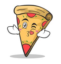 kissing face pizza character cartoon vector image vector image