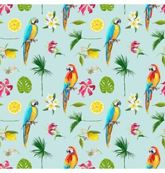Tropical background parrot bird tropical flowers vector