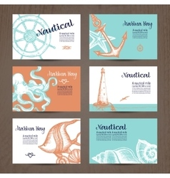 Nautical Card Set vector image vector image