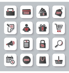 Set of flat modern shopping web icons vector image vector image