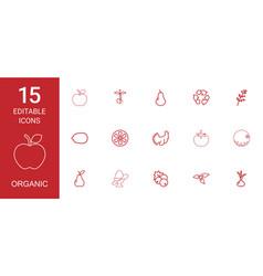 15 organic icons vector image