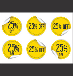 25 percent off yellow paper sale stickers vector