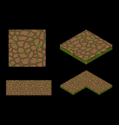 2d and isometric ground seamless tile texture vector image