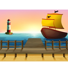 A sunset view of the port with a wooden boat vector image