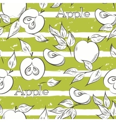 Apples on green stripes vector