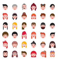 avatar people head difference hair style icon set vector image