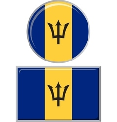 Barbados round and square icon flag vector