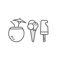 Beach cocktail and ice cream icons vector