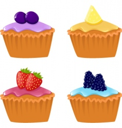 berry cupcakes vector image
