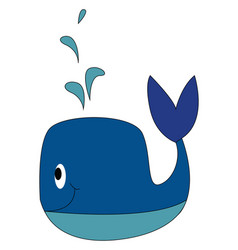 blue whale smiling on white background vector image