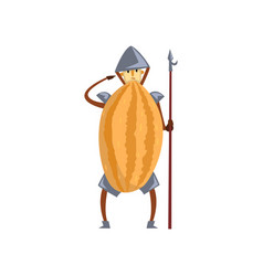 Brave warrior melon cartoon character with spear vector