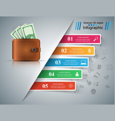 business infographics dollar money wallet icon vector image