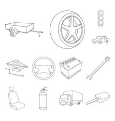 car vehicle outline icons in set collection for vector image