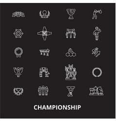 championship editable line icons set on vector image