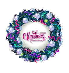 christmas card with a wreath of fir branches vector image