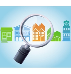 concept - magnifying glass and home icons vector image