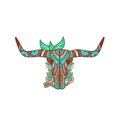 Cow skull art colors vector