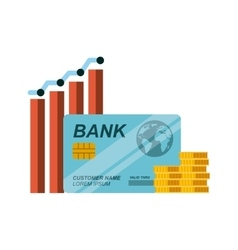 Credit card and gold coins vector
