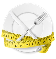 Crossed spoon and fork plate Diet metr 03 vector