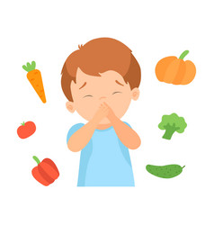 Cute boy refusing to eat vegetables kid does not vector