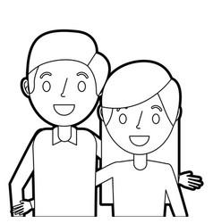cute couple parents embracing portrait vector image
