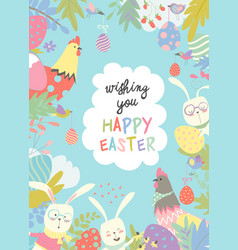 Cute frame composed easter bunnies and easter vector