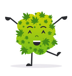 cute smiling cannabis weed bud cartoon character vector image