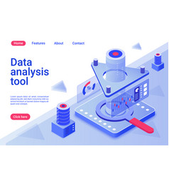 data analysis tool isometric landing page template vector image