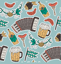 doodle hand drawn octoberfest seamless pattern vector image
