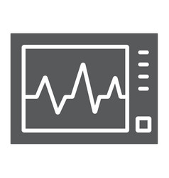 ecg machine glyph icon medicine and cardiology vector image