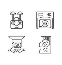 Effective drone use linear manual label icons set vector
