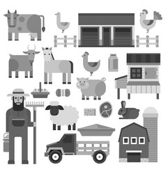 farmer character man agriculture monochrome vector image