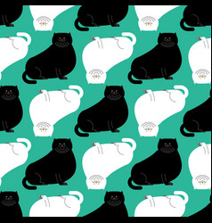 Fat white and black cat pattern big thick pet vector