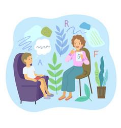 Female speech therapist with preschool boy make vector
