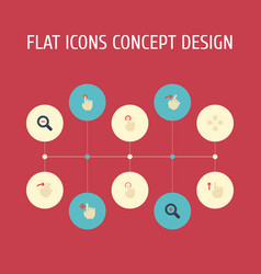 Flat icons enlarge swipe magnifier and other vector